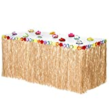 Hawaiian Luau Grass Table Skirt: BONUS 12 Hibiscus Flowers | Easy Setup | Perfect, Beach, Tiki, Tropical Island, Party, Luau, Hawaiian Decorations 9ft