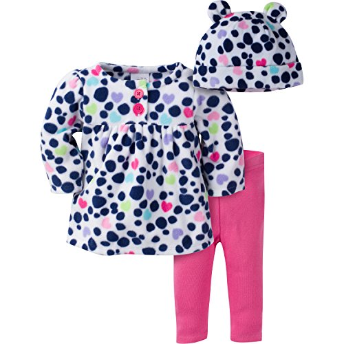 Gerber Girls' 3 Piece Top, Pant and Cap Set, Small Dots, 6-9 Months