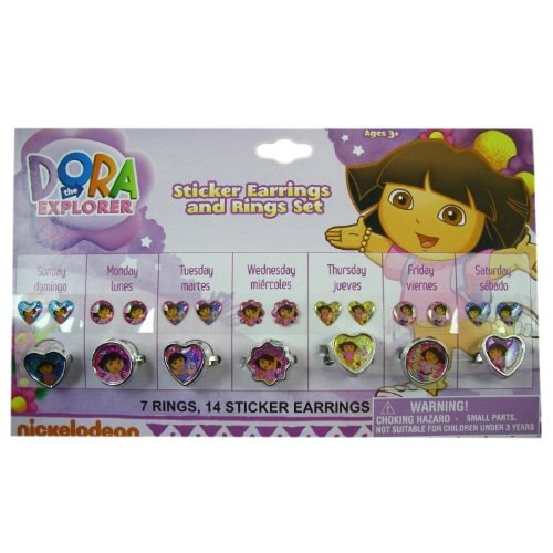 Dora the Explorer Stick-on Earrings & Ring Set - Dora Sticker Earrings & Rings for Everyday of the Week!