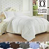 Clara Clark White Goose Down Alternative Comforter Duvet, Full/Queen, Feather Light and Warm Edition