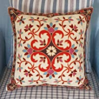 Pillow-Cases Cotton Linen Embroidery Pillowcase Jindal red Throw Pillow Cushion Covers (one side printing 45 X 45 cm) by Pillow-Cases