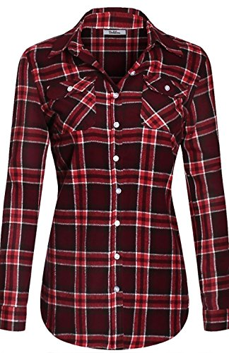 bodilove-womens-warm-flannel-long-roll-up-sleeve-button-up-plaid-shirt-white-burgundy-s-ins-1519st
