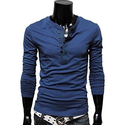 Orange Ananas (オレンジ アナナス) teppan ヘンリーネック 長袖 ワイルド カットソー スタイリッシュ カジュアル Tシャツ ロング シャツ メンズ (6色選択 ブラック ホワイト ブルー ワイン カーキ グリーン) 07 ブルー XL
