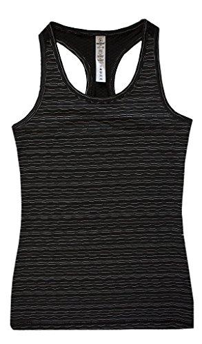 90 Degree by Reflex Kids - Girls Textured Zig Zag Tank Tops - Junior Activewear - Black Combo Small (7/8)