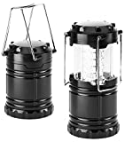 Everyday Essentials 2 Pack Ultra Bright LED Collapsible Water Resistant Camping Lantern Flashlights [NEWEST VERSION] (Black 2-Count)