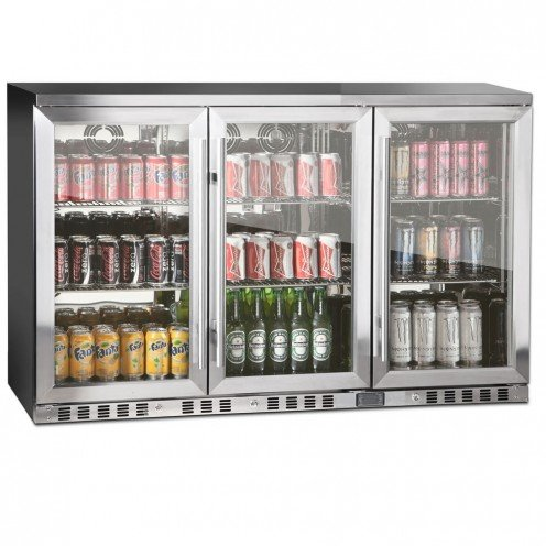 Kingsbottle 3-Door Front Venting Full Stainless Steel Bar Fridge
