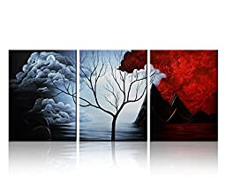 Santin Art- Modern Abstract Painting the Cloud Tree High Q. Wall Decor Landscape Paintings on Canvas Stretched and Framed Ready to Hang