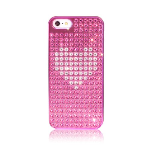 BlingMyThing ei5-pm-pk-crh Crystal Heart Extravaganza - Custodia con cristalli e decorazione a cuore, per Apple iPhone 5, colore: Rosa