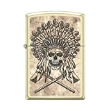Zippo Custom Lighter Design Indian Skull with Cross Axes Windproof Collectible - Cool Cigarette Lighter Case Made in USA Limited Edition & Rare