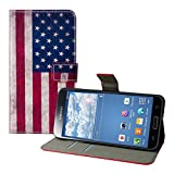 Kwmobile Chic leather case for the Samsung Galaxy S5 G900 with convenient stand function - Flag design (USA) (Blue Red etc.)!