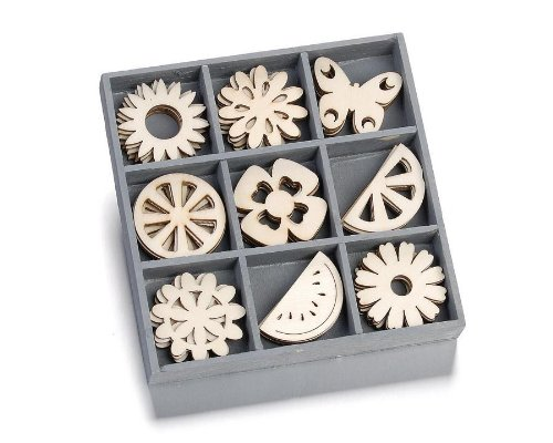cArt-Us 10.5 x 10.5 cm Wooden Box with Summergardens Ornaments, Natural