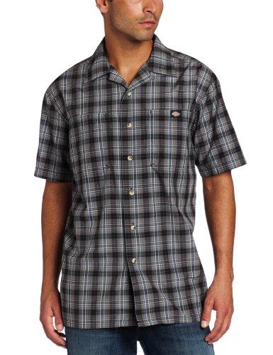 Dickies men 39 s short sleeve plaid camp shirt black large for Dickies short sleeve plaid shirt
