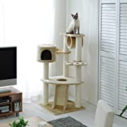 Cat Tower with Scratching Posts and Cubby Hole QQ80083 Cat Tree Cat Condo