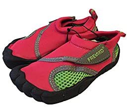 Little Kids Toddler Aquatic Water Shoes with Velcro Closure (US Toddler 8M, Pink)