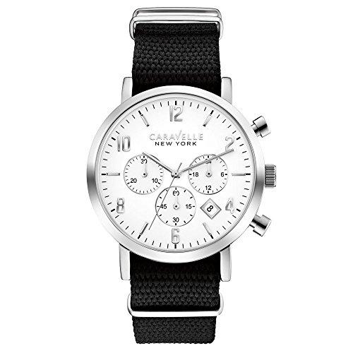 Caravelle New York 43B137 - Reloj  de Cuarzo para Hombre, correa de Nailon color Negro