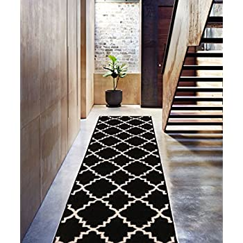 "Black Ebony 2x7 ( 23"" x 73"" Runner ) Area Rug Trellis Morrocan Modern Geometric Wavy Lines Area Rug Living Dining Room Bedroom Resistant Carpet Contemporary Soft Plush Quality"