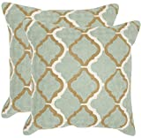Safavieh Pillow Collection Throw Pillows, 12 by 20-Inch, Samson Amist Green, Set of 2