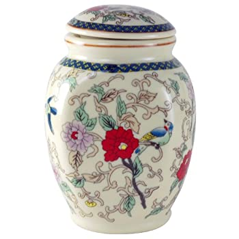 Flower Charms Tea Canister Cream