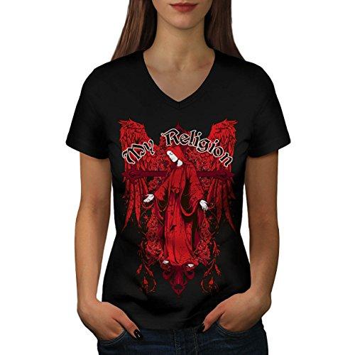 Mio Religione Dea Credere Dio Da donna Nuovo Nero L T-Shirt   Wellcoda