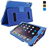 Snugg iPad Mini 3 Case - Smart Cover with Flip Stand & Lifetime Guarantee (Electric Blue Leather) for Apple iPad Mini 3 (2014)