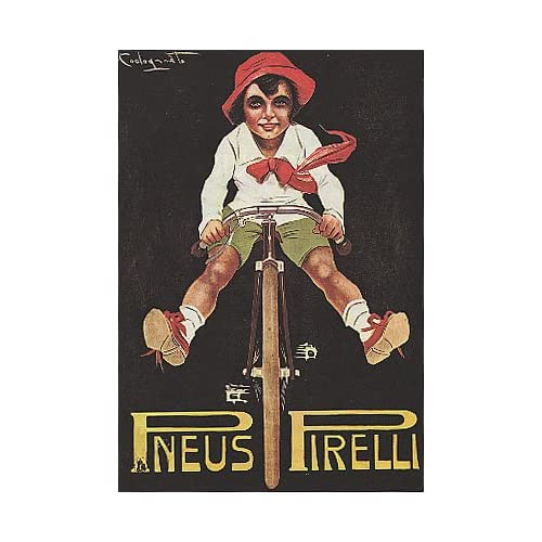 BOY RIDING A BICYCLE BIKE CYCLES PNEUS TIRES SMALL VINTAGE POSTER CANVAS REPRO