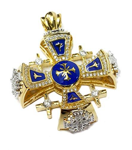 gold-with-silver-plated-jerusalem-cross-pendant-necklace-blue-enamel-swarovski