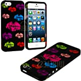 myLife Rainbow Lipstick Kisses Series (2 Piece Snap On) Hardshell Plates Case for the iPhone 5/5S (5G) 5th Generation Touch Phone (Clip Fitted Front and Back Solid Cover Case + Rubberized Tough Armor Skin)