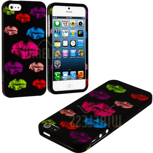 #1  myLife (TM) Rainbow Lipstick Kisses Series (2 Piece Snap On) Hardshell Plates Case for the iPhone 5/5S (5G) 5th Generation Touch Phone (Clip Fitted Front and Back Solid Cover Case + Rubberized Tough Armor Skin + Lifetime Warranty + Sealed Inside myLife Authorized Packaging)