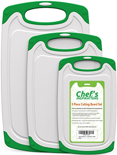 Chef's INSPIRATIONS Cutting Board - 3 Piece Set - Green and White (Kitchen Cutting Board Plastic compare prices)