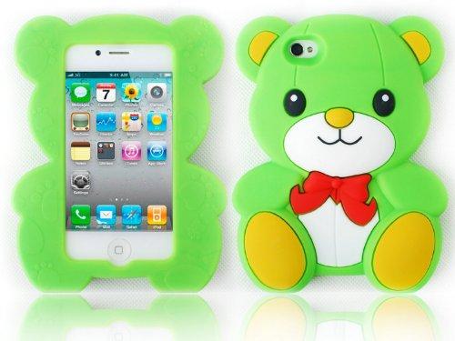 HJX Green Iphone 5 Cute 3D Big Teddy Bear Hybrid