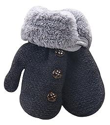 X&F Unisex Baby Cute Buttons Fur Thick Gloves Kids Warm Mittens with String Dark Grey