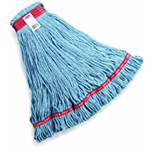 "Rubbermaid Commercial FGA11306 Web Foot Wet Mop, Large, 1"" Red Headband, Blue"