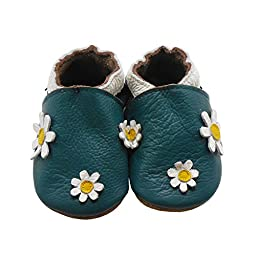Sayoyo Baby Daisy Soft Sole Leather Infant Toddler Prewalker Shoes (0-6 months, Green)