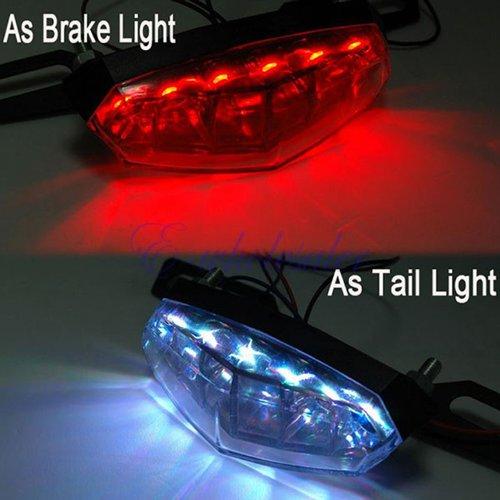 Motorcycle Atv License Plate Holder Led Tail Rear Brake Bracket Mount Light Lamp