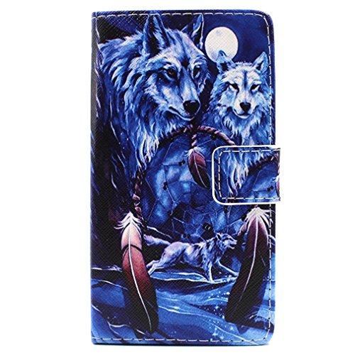 Per HuaWei P8 Lite Flip Custodia Case, LEMORRY Wolf & Dreamcatcher Portafoglio PU Pelle Morbido Inner Cover Stand Card Folio Patta Stand Magneticoic Strap Bumper Protettivo Holster