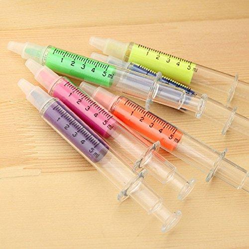 tinksky-6pcs-nouveaute-seringue-en-forme-de-stylos-fluorescents-surligneur-dans-6-couleurs-different
