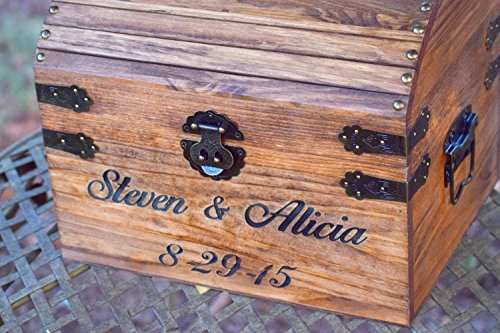 Engraved Wooden Card And Memory Chest Rustic Wedding