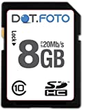 Dot.Foto 8Gb SDHC Class 10 20Mb/s High Speed card for Pentax Optio RX18, RZ10, RZ18, S1, S7, S10, S12, T30, V10, V20, VS20, W30, W60, W80, W90, WG-1, WG-1 GPS, WG-2, WG-2 GPS, WS80, Z10, X-5, X70, X90