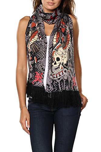 Ed Hardy Mens Skull Knit Scarf - Charcoal/Black