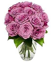 From You Flowers - One Dozen Purple Roses (Free Vase Included)