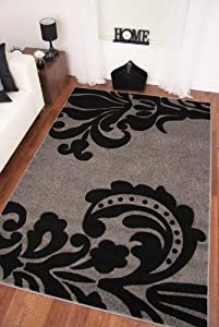 Napoli Silver Grey Black Plain Modern Motif Thick Rug by The Rug House