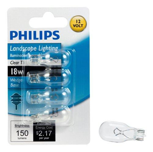 Philips 416024 Landscape Lighting 18-Watt T5 12-Volt Wedge Base Light Bulb, 4-Pack