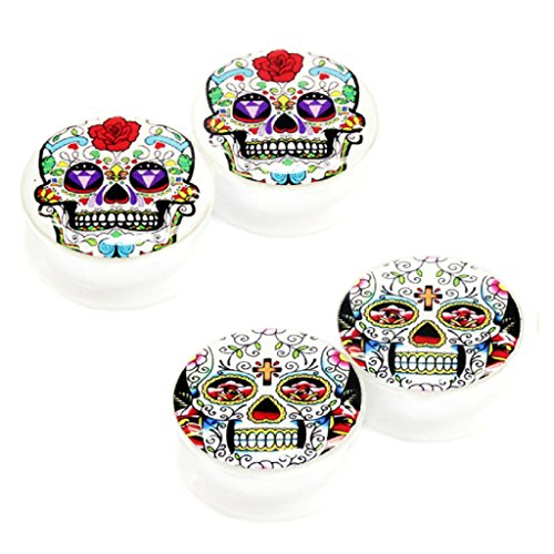 Value Pack 2 Pairs 4Mm 6G (More Sizes Available) Classic Mexican Sugar Skull Logo Acrylic Internal Thread Screw Fit Flesh Tunnels White Ear Plugs