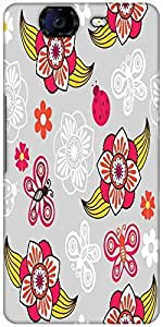 Snoogg Spring Seamless Pattern With Flowers And Ladybirds Designer Protective Back Case Cover For Micromax Canvas Knight A350