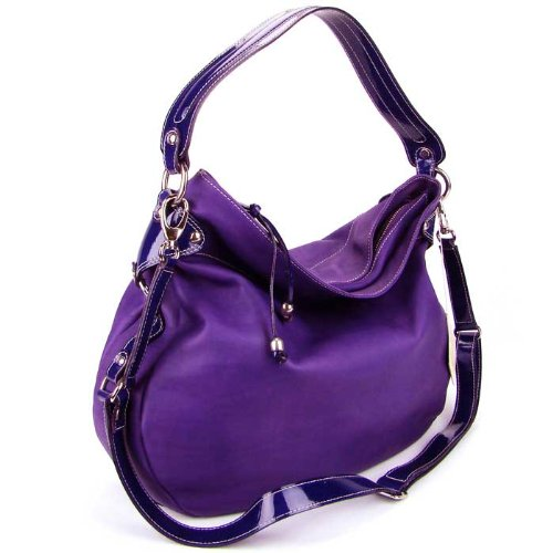 CAVALCANTI Italian Purple Calf Leather Designer Large Hobo Shoulder Bag