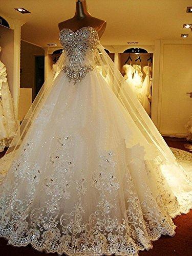Sweetgirl Beads Wedding Dress Long Train Lace Custom Real Pictue L022 (18W)
