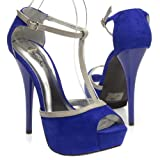 Qupid Women's DAZZLING15 Open Toe Ankle Strap Mary Janes Gray T-Strap High Heel Stiletto Sandal Pump Shoes, Cobalt Blue Faux Suede