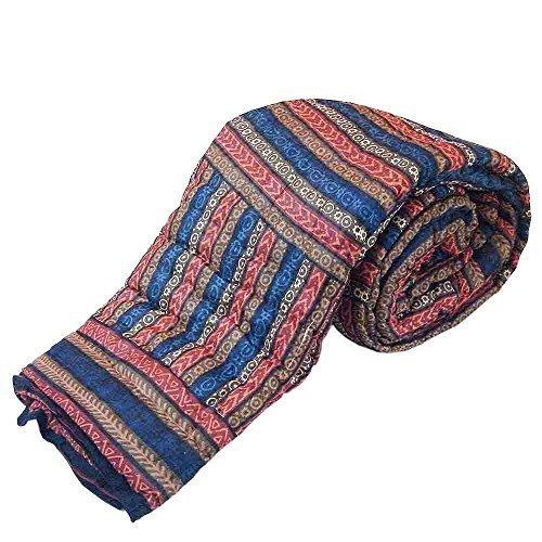 Estampado atractivo Handblock Little India cama doble granate