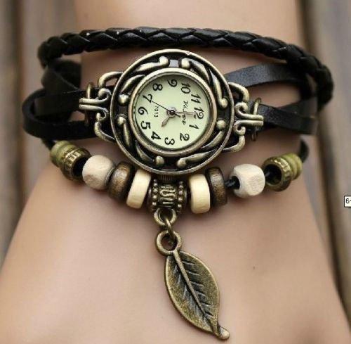 Super Bargain!!! Quartz Hot Deals Weave Wrap Around Leather Bracelet Lady Women Wrist Watch Black Color