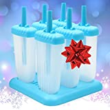 Kitchen Paradise Ice Pop Maker Popsicle Mold- Set of 6 Tropical Blue Reusable, BPA free, Durable Tupperware Quality Molds with Sturdy Tray, Recipe E-Book Included - Clearance Sale